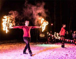fire dancers at cambridge vermont winterfest near Stowe Vermont