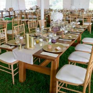 wedding tent interior with farm table set up | Sterling Ridge Resort