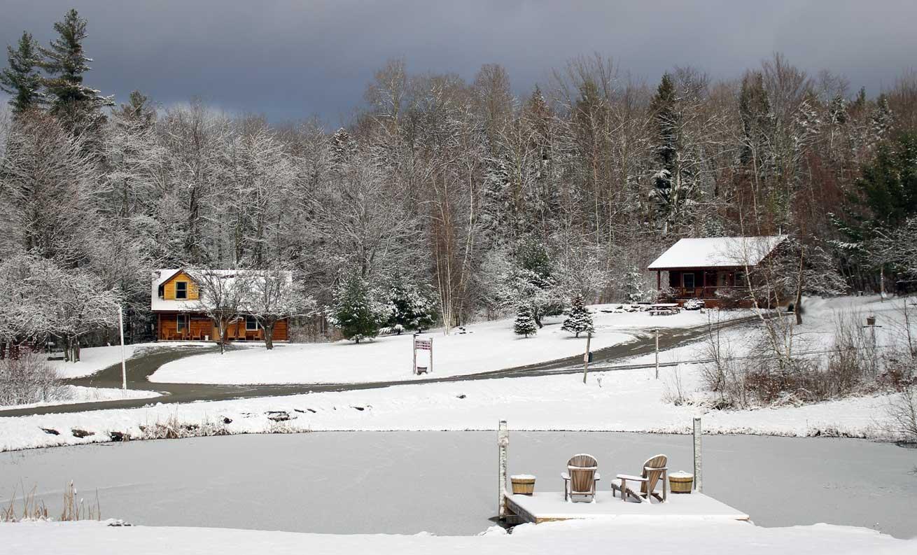 Sterling Ridge Resort log cabins in winter_vermont