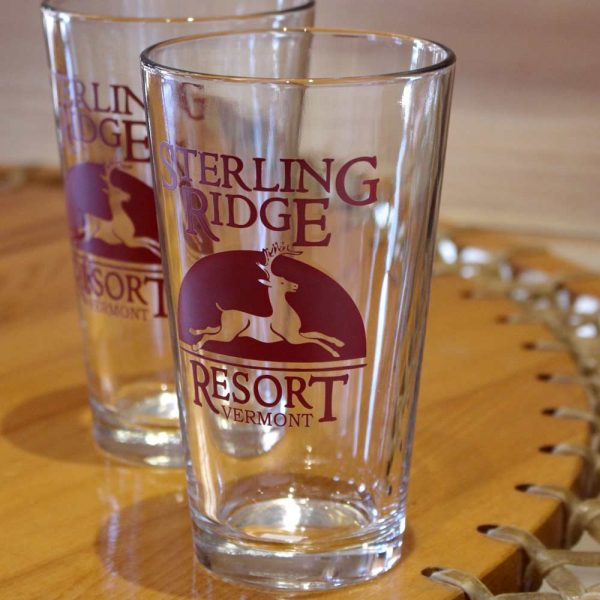 Beer glasses with vermont resort logo
