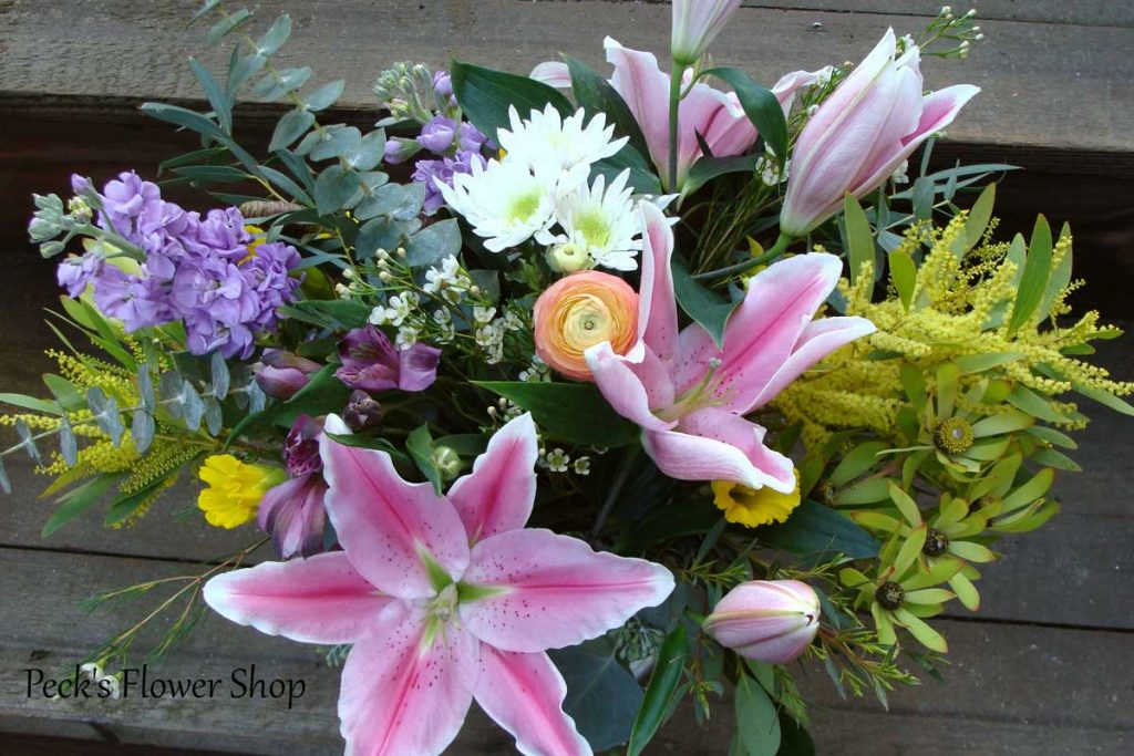 Beautiful, cheery flower arrangement from pecks