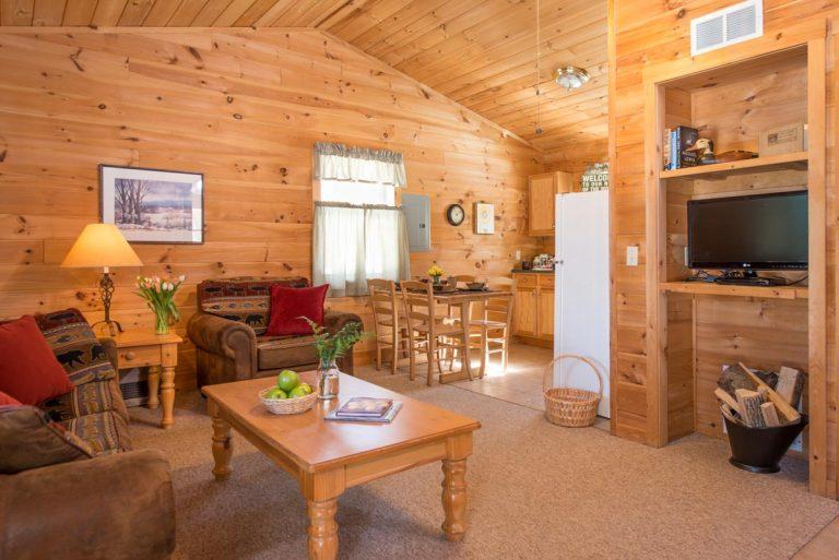 2 bedroom cabin interior living area | Sterling Ridge Resort