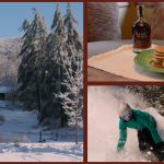 spring skiing snowboarding log cabin maple syrup with pancakes