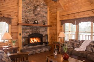 field and stream cabin living area