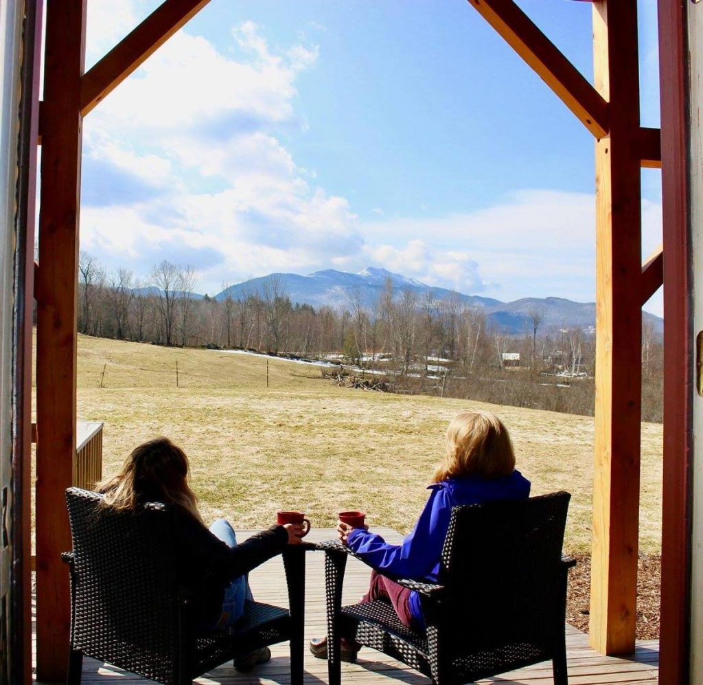 Enjoying the view of mt mansfield from the mansfield house