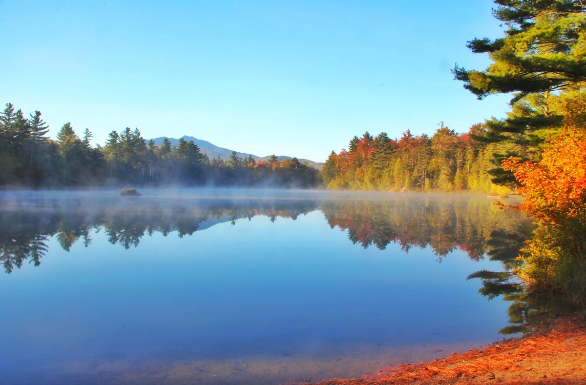 fall pond in Vermont overlooking sterling ridge resort