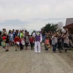Crowd gathered for easter egg hunt with easter bunny