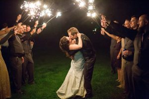 outdoor wedding sparklers