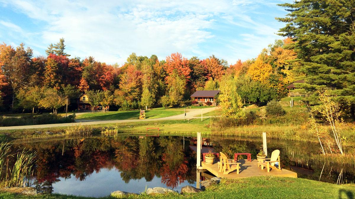 new england fall resort with pond | Sterling Ridge Log Cabin Resort