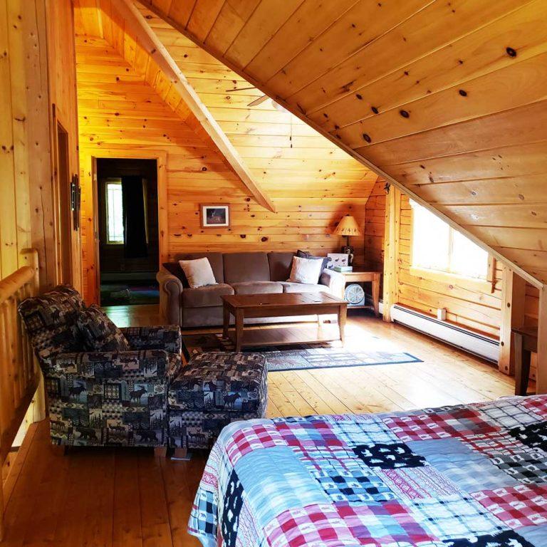 The loft area of the Field and Stream Dream Cabin